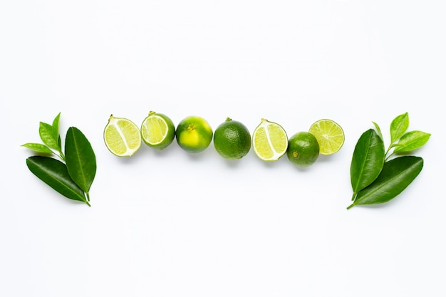 Fresh limes with leaves isolated