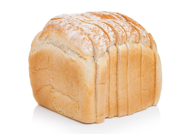 Fresh loaf of white bread on white.