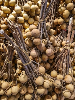 Fresh longan for sale in the market.
