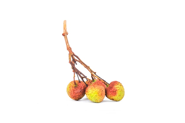 Fresh lychee with leaves isolated on white background