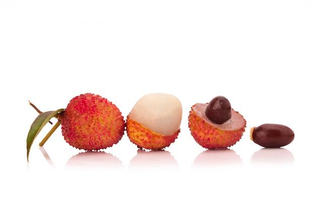 Fresh lychees isolated on white background