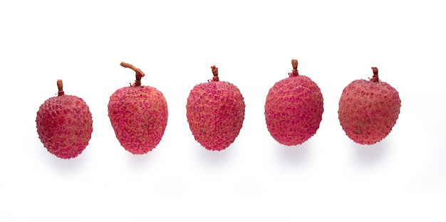 Fresh lychees isolated