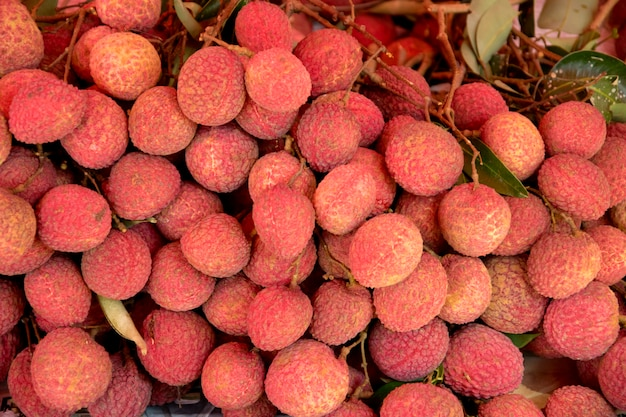 Fresh lychees in market.