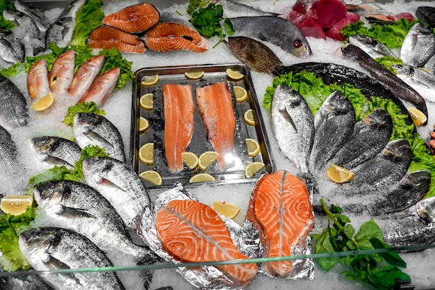 Fresh mackerel fish on ice