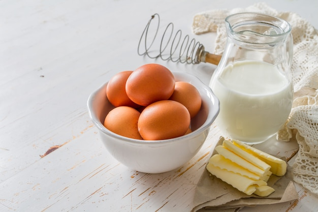 Fresh maket ingredients for baking easter bread
