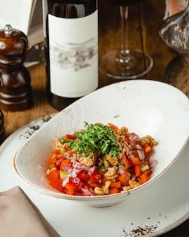 Fresh mangal salad with wine