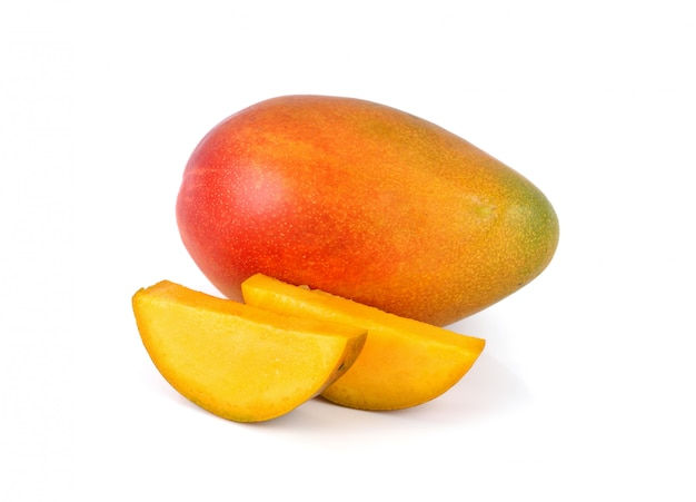 Fresh mango fruit on white