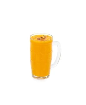 Fresh mango juice in a jar