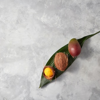 Fresh mango, whole coconut and coconut shell with yellow ice cream on a palm leaf on a gray concrete background with scopies of space for text. flat lay