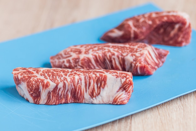Fresh marbled beef from black angus
