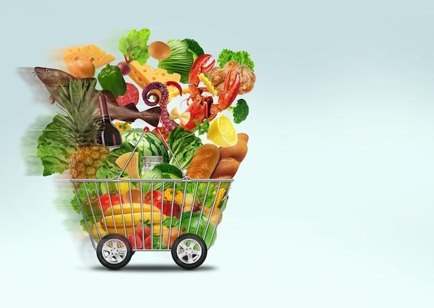 신선한 시장 온라인 개념 음식 배달