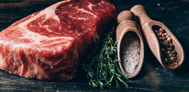 Fresh meat in a rustic style