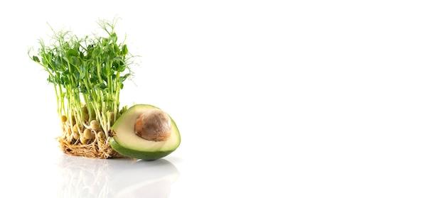 Свежая микрозелень. ростки гороха и половина авокадо, изолированные на белом.