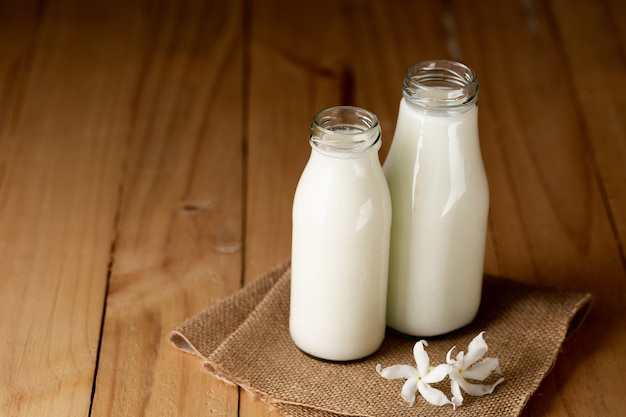 Fresh milk bottle and glass