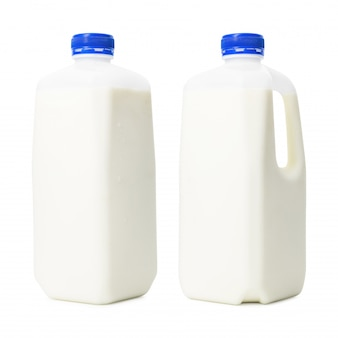 Fresh milk bottles in liter container isolated on white background. breakfast drink for health. ( clipping path )