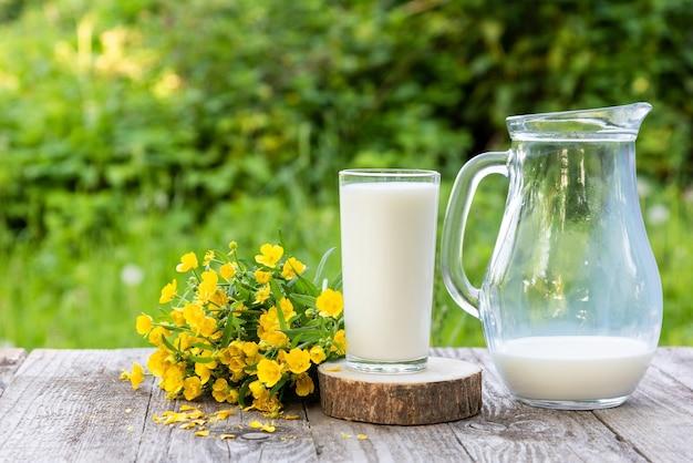 Fresh milk in a glass on a green garden