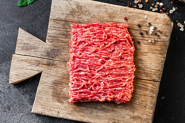 Fresh minced meat grinder meal ingredient on the table