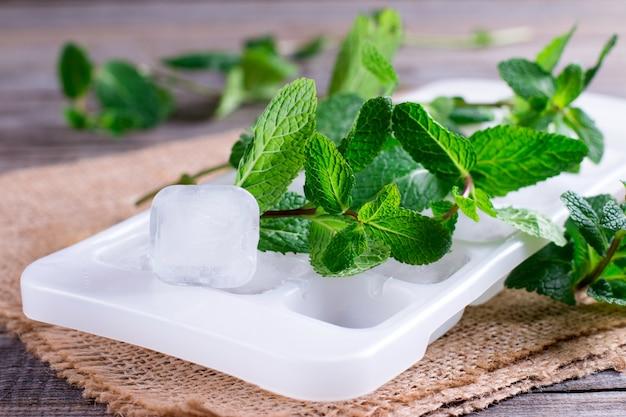 テーブルの上の新鮮なミントと角氷
