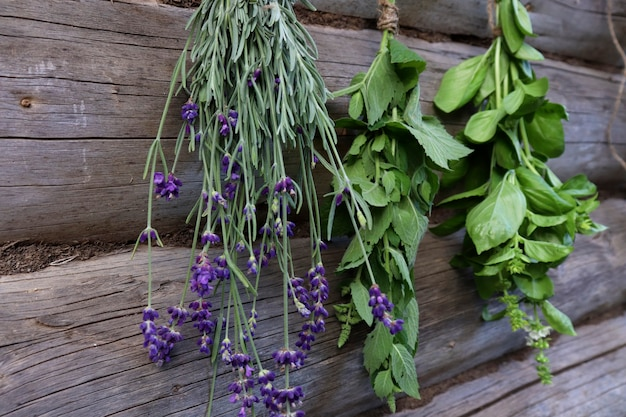 新鮮なミント、バジル、ラベンダーは、木製の背景に新鮮な空気の中で束にされた形で乾燥されます。健康のための香りのよいハーブの概念。