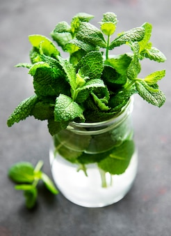 Fresh mint leaves in a small glass jar
