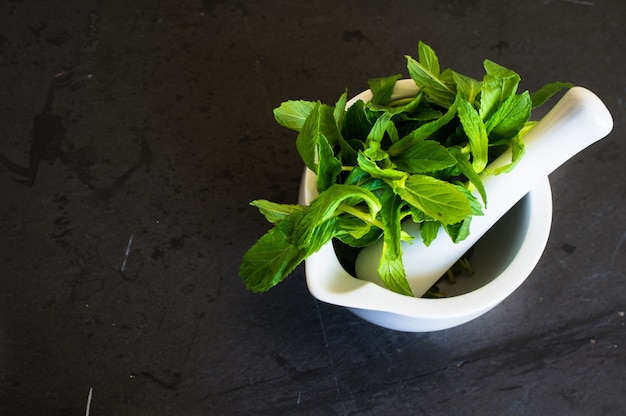 Fresh mint on rustic background