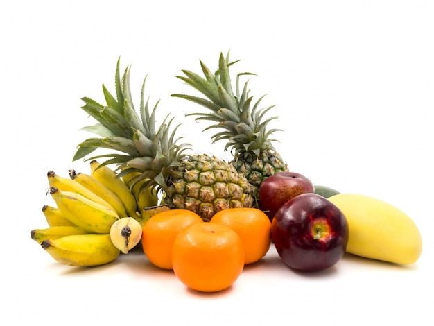 Fresh mixed fruits on a white background