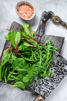 Fresh mixed greens, spinach, swiss chard and arugula