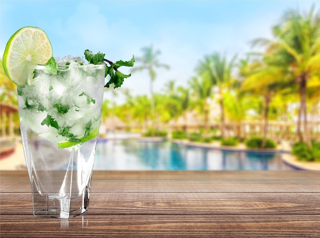 Fresh mojito cocktail  on  background.