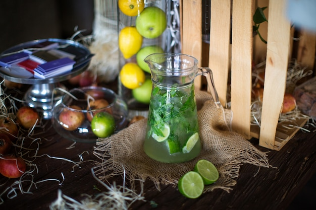 Fresh mojito with ice and mint