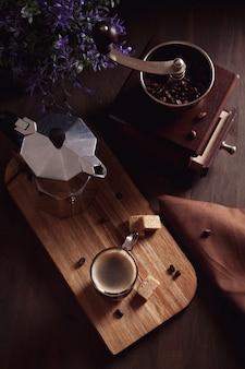 Fresh morning coffee. top view