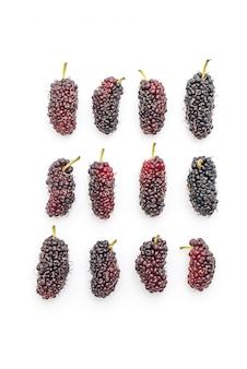 Fresh mulberry on white background