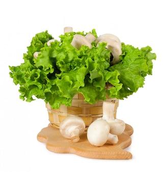 Свежие грибы в корзине на кухне