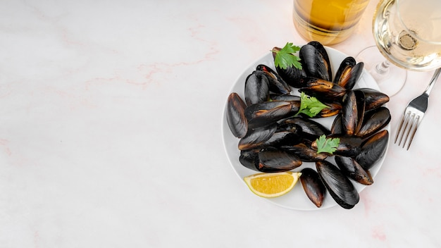 Fresh mussels dish with copy space