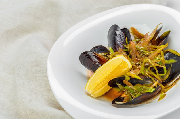 Fresh mussels in plate