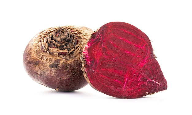 Fresh natural beetroots isolated on white background
