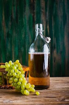 Fresh and natural grape juice in bottle