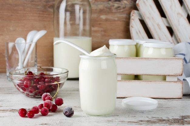 Fresh natural homemade organic yogurt with berries