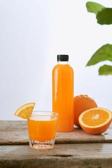 Fresh natural orange juice on table. healthy drink.
