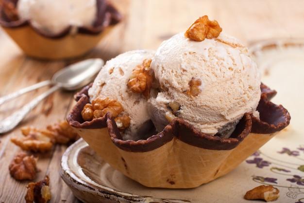Fresh nut ice cream in waffle cup
