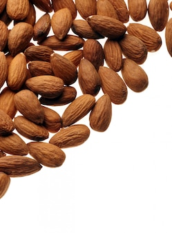 Fresh nuts over white background