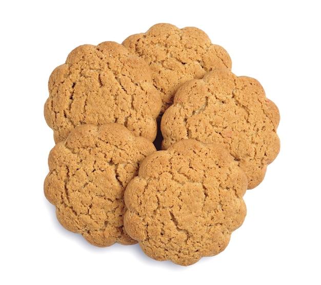 흰색 바탕에 신선한 오트밀 쿠키