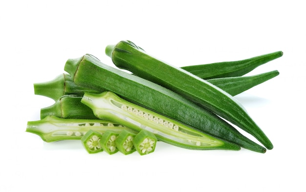 Fresh okra or green roselle on white background.