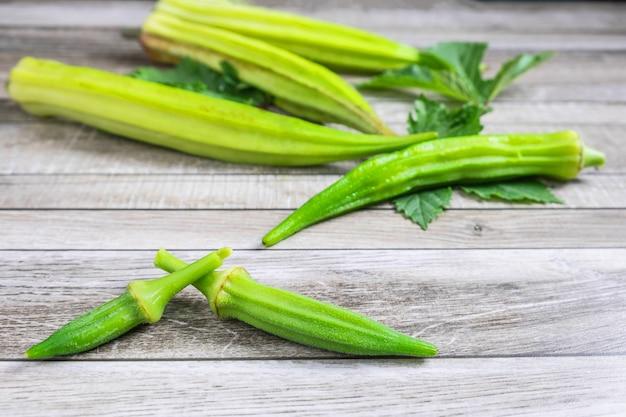 Fresh okra on for health