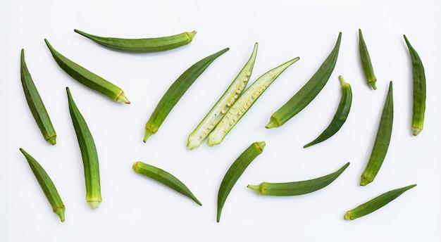 Fresh okra isolated on white background