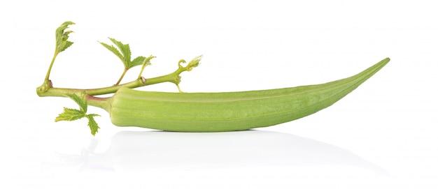 Fresh okra on a white background