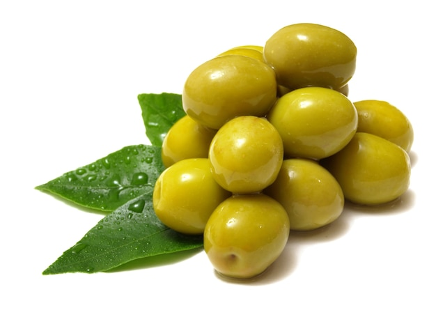 Fresh olives on a white space