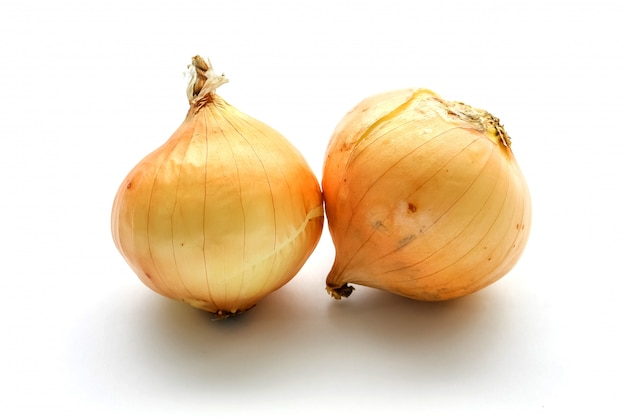 Fresh onion bulbs isolated on white