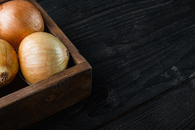 텍스트 복사 공간이 있는 검은색 나무 테이블 배경에 신선한 양파 수확