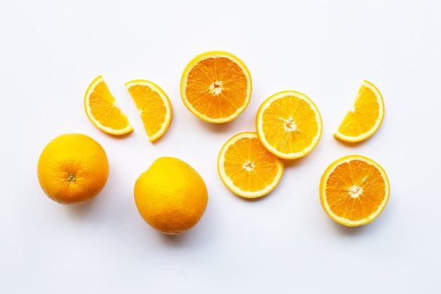 Fresh orange citrus fruit on white background.