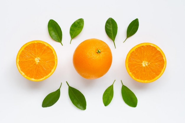 Fresh orange citrus fruit with leaves isolated